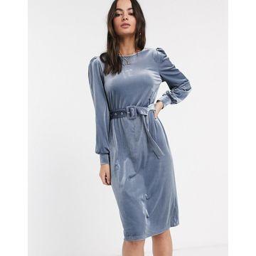 Vila cord rib midi dress-Blue