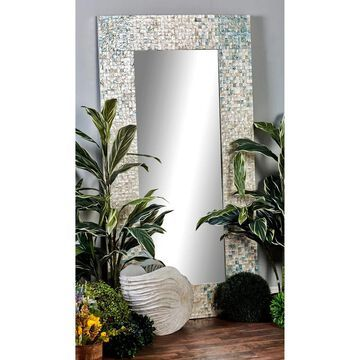 Modern 71 x 36 Inch Wood and Shell-Inlaid Wall Mirror by Studio 350 - White/Grey (White/Grey)