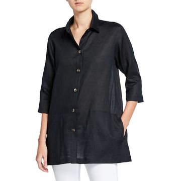 Button-Front Tissue Linen Shirt with Pockets