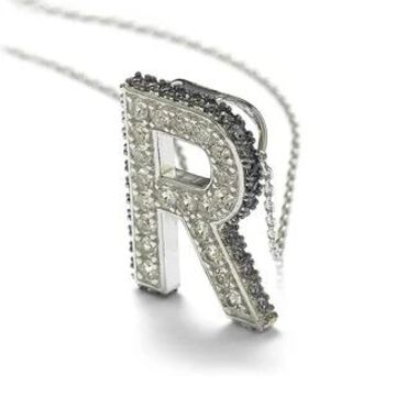 Suzy Levian Sterling Silver Sapphire & Diamond Accent Letter Pendant