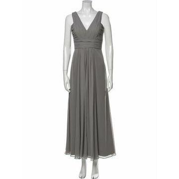 V-Neck Long Dress Green