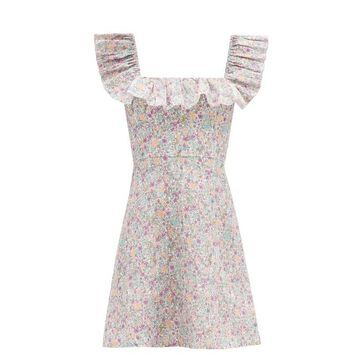 Zimmermann - Carnaby Ruffled Floral-print Cotton Mini Dress - Womens - White Print