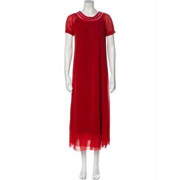 Crew Neck Long Dress Red
