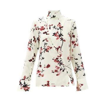 Altuzarra - Marjorie Cherry Blossom High-neck Silk Blouse - Womens - Ivory Multi
