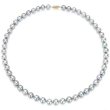 DaVonna 14k Yellow Gold 6-7mm Grey Freshwater Pearl Necklace