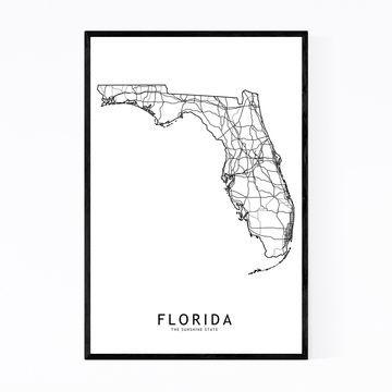 Noir Gallery Florida Black & White State Map Framed Art Print