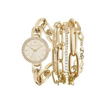 Women's Kendall + Kylie Dainty Gold Tone Chain Link Stainless Steel Strap Analog Watch and Layered Bracelet Set 40mm