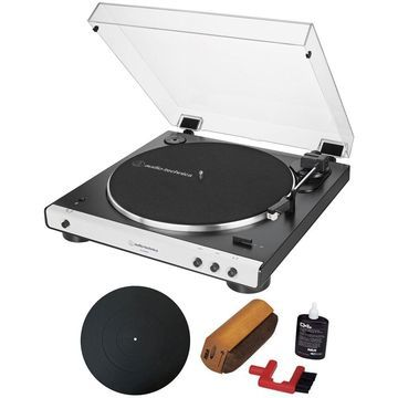 Audio-Technica ATLP60XBT Fully Automatic Bluetooth Stereo Turntable + Essentials Bundle Black