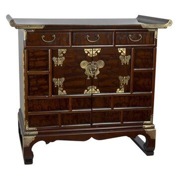 Oriental Furniture Oriental Furniture Korean Antique Style 3-Drawer End Table Chest