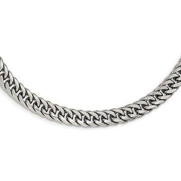 Chisel Stainless Steel Polished 24-inch Double Curb Chain Necklace (White - 24 Inch)