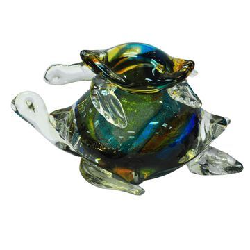 Dale Tiffany Sea Turtles Art Glass Sculpture