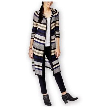 Planet Gold Womens Striped Hooded Cardigan Sweater