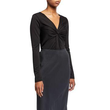 Front Twist Long-Sleeve Bodysuit