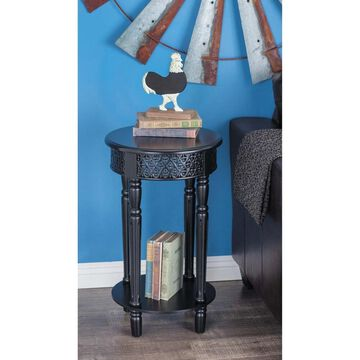 Farmhouse 27 Inch Round Black Wooden Side Table by Studio 350