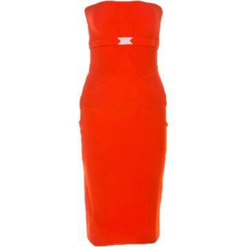 Victoria Beckham Orange Silk Dresses