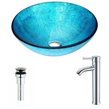 Anzzi LSAZ047-041 Accent Brass and Glass Deck Mounted or Vessel Bathroom Sink with Fann Series 0.95 GPM Faucet - Includes Drain Assembly Emerald Ice /