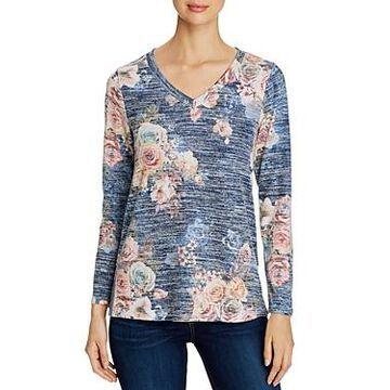 Cupio Heathered Floral Print Long-Sleeve Top