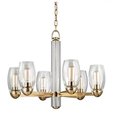 Hudson Valley Pamelia 6-LT Chandelier 8846-AGB - Aged Brass