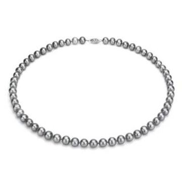 DaVonna Sterling Silver 7-8mm Grey Freshwater Pearl Necklace (30 Inch)