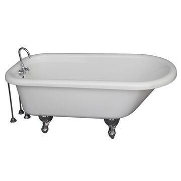 Barclay 30-in W x 60-in L White Acrylic Oval Back Center Drain Clawfoot Soaking Bathtub and Faucet Included   TKADTR60-WCP9