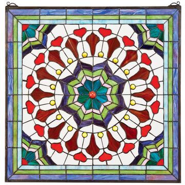 Design Toscano Floral Tiffany-Style Color Stained Glass Windo