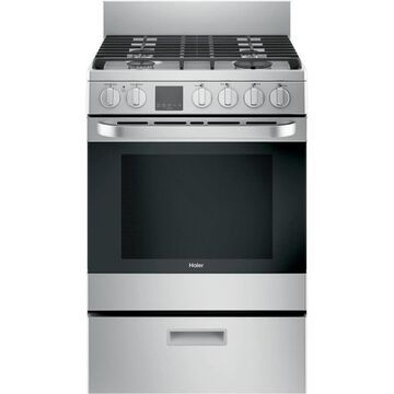 Haier 24-in 4 Burners 2.9-cu ft Convection Oven Freestanding Gas Range (Stainless Steel) | QGAS740RMSS