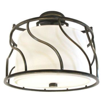 Kalco Lighting Helix Three-Light Hand Rubbed Bronze Semi-Flush Mount