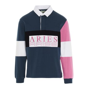 Aries petrol Color Blocked Rugrby Polo