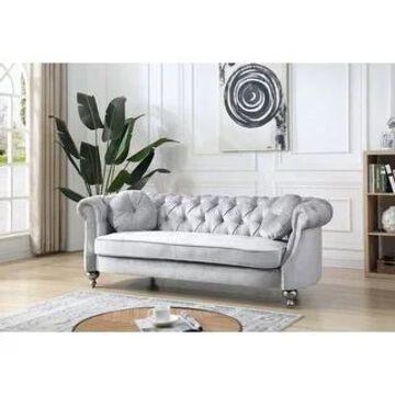 Salerno Velvet Sofa (Silver Grey)