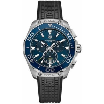 Tag Heuer Men's CAY111B.FT6041 'Aquaracer' Chronograph Black Rubber Watch (9 Inch - Stainless Steel - 300 Meters - Sapphire - Three Hand - Blue - New