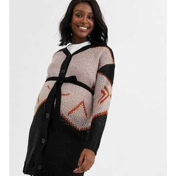 Mamalicious button through cardigan in abstract print-Black