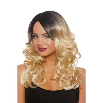 Dreamgirl Long Wavy Ombre Wig (Black/Blonde)-Standard