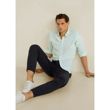 MANGO MAN - Slim fit printed cotton shirt green - XL - Men