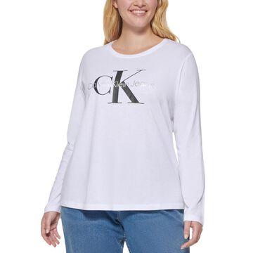 Calvin Klein Jeans Trendy Plus Long-Sleeve Logo T-Shirt