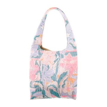Psychedelic Floral Jacquard Grand Shopping Tote Mauve