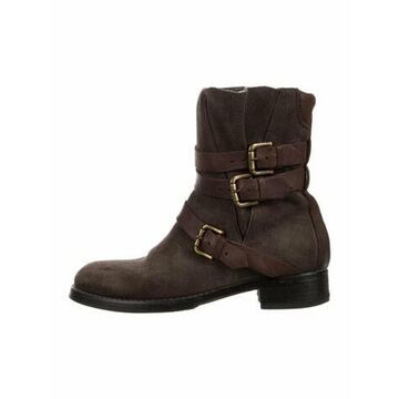 Suede Moto Boots Brown