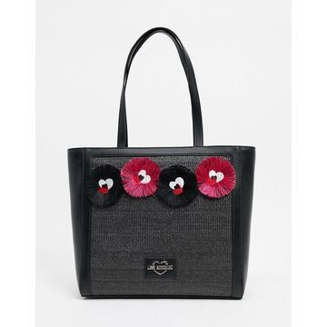 Love Moschino tote bag with novelty applique in black