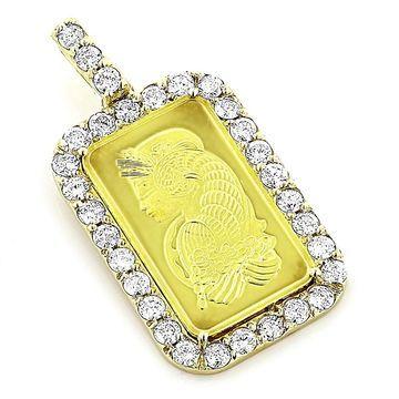 Luxurman 14k/24k Gold Diamond Pamp Suisse Pendant - Yellow