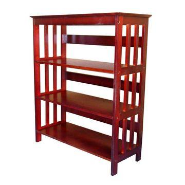 ORE International Cherry Wood 3-Shelf Bookcase