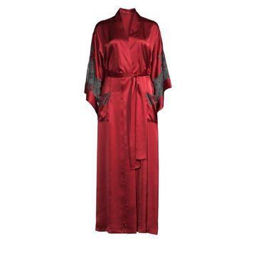 Josie Natori Long Lace Trim Robe