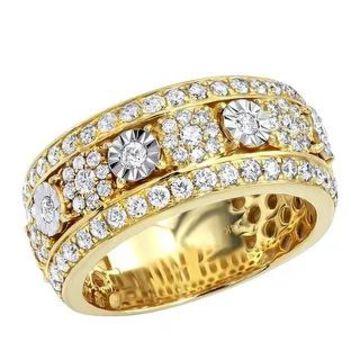Unique Mens Diamond Wedding Band 14k Gold Anniversary Ring 2.25ctw by Luxurman