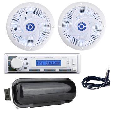Pyle PLMR20W Marine Stereo Radio Headunit Receiver, 5.25