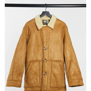 Reclaimed Vintage inspired faux shearling jacket in tan-Brown