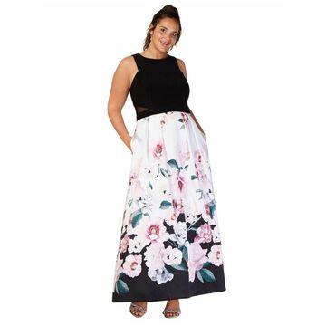 XSCAPE Black Sleeveless Tea-Length Dress 22W