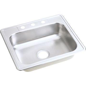 Elkay Dayton Drop-In 25-in x 21.25-in Satin Single Bowl 3-Hole Kitchen Sink