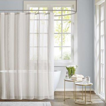 Home Essence Angie Sheer Textured Stripe Shower Curtain