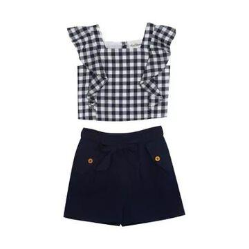 Rare Editions Girls' Girls 7-16 Flutter Sleeve Gingham Top And Seersucker Shorts Set - -