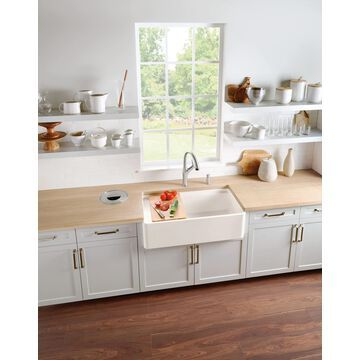 BLANCO Profina Farmhouse Apron Front 36-in x 19-in Biscuit (Off-white) Single Bowl Kitchen Sink Stainless Steel   523027