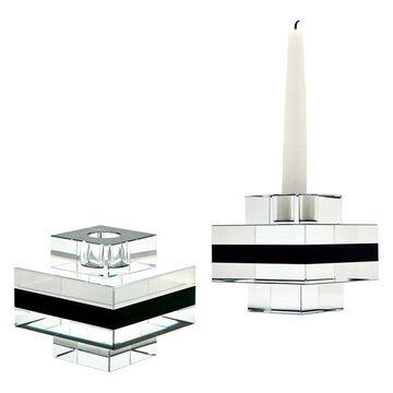Lazy Susan Square Tuxedo Crystal Pedestal Candleholders, Set Of 2