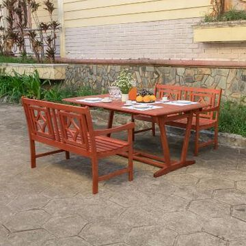 Malibu 3pc Wood Extendable Outdoor Patio Dining Set - Tan - Vifah